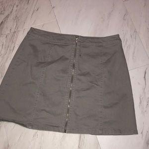 grey zip up skirt